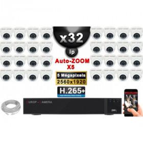 Kit Vidéo Surveillance PRO IP : 32x Caméras POE Dômes AUTOZOOM X5 IR 35M SONY 5 MP + Enregistreur NVR 36 canaux H265+ 3000 Go