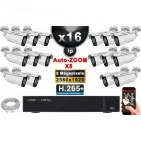 Kit Vidéo Surveillance PRO IP : 16x Caméras POE Tubes AUTOZOOM X5 IR 60M SONY 5 MP + Enregistreur NVR 25 canaux H265+ 3000 Go
