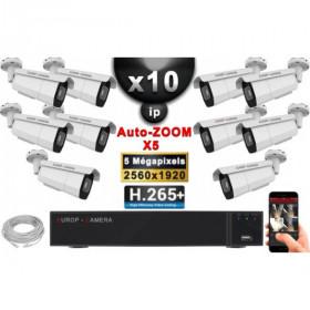 Kit Vidéo Surveillance PRO IP : 10x Caméras POE Tubes AUTOZOOM X5 IR 60M SONY 5 MP + Enregistreur NVR 16 canaux H265+ 3000 Go