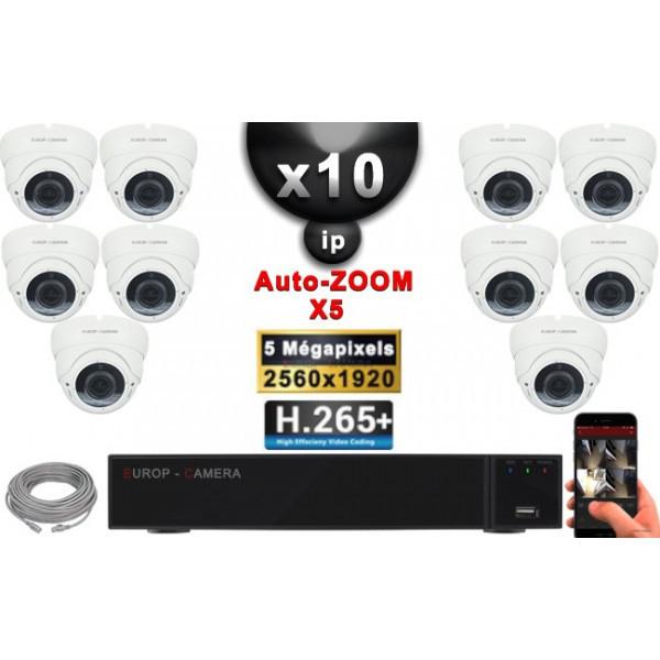 Kit Vidéo Surveillance PRO IP : 10x Caméras POE Dômes AUTOZOOM X5 IR 35M SONY 5 MP + Enregistreur NVR 16 canaux H265+ 3000 Go