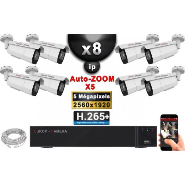 Kit Vidéo Surveillance PRO IP : 8x Caméras POE Tubes AUTOZOOM X5 IR 60M SONY 5 MP + Enregistreur NVR 16 canaux H265+ 3000 Go