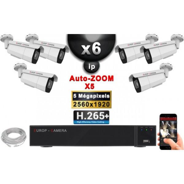 Kit Vidéo Surveillance PRO IP : 6x Caméras POE Tubes AUTOZOOM X5 IR 60M SONY 5 MP + Enregistreur NVR 9 canaux H265+ 2000 Go