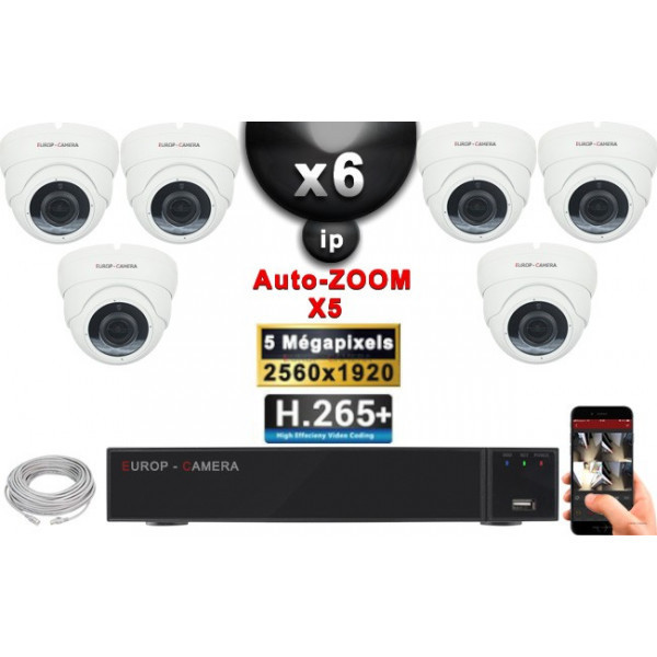 Kit Vidéo Surveillance PRO IP : 6x Caméras POE Dômes AUTOZOOM X5 IR 35M SONY 5 MP + Enregistreur NVR 9 canaux H265+ 2000 Go