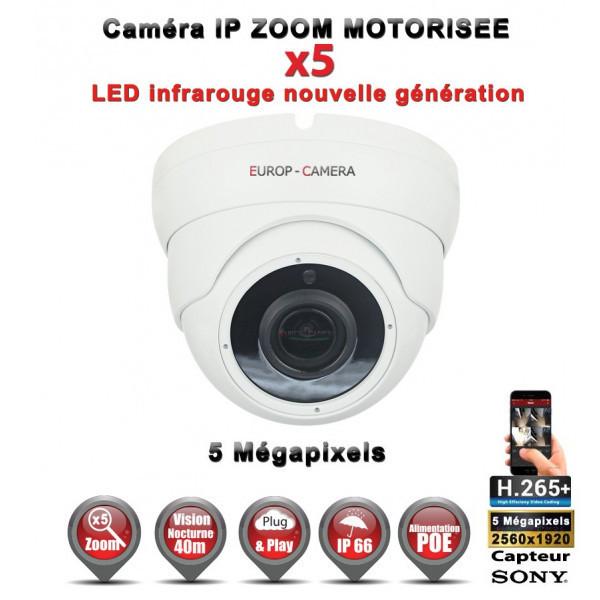 Dôme IP Zoom Motorisée X5 anti-vandal IR 35M ONVIF POE SONY 5 MegaPixels - Caméra surveillance IP