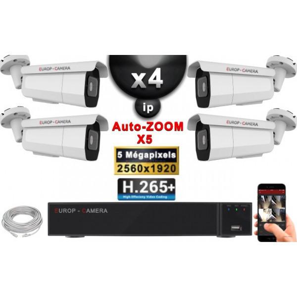 Kit Vidéo Surveillance PRO IP : 4x Caméras POE Tubes AUTOZOOM X5 IR 60M SONY 5 MP + Enregistreur NVR 9 canaux H265+ 2000 Go