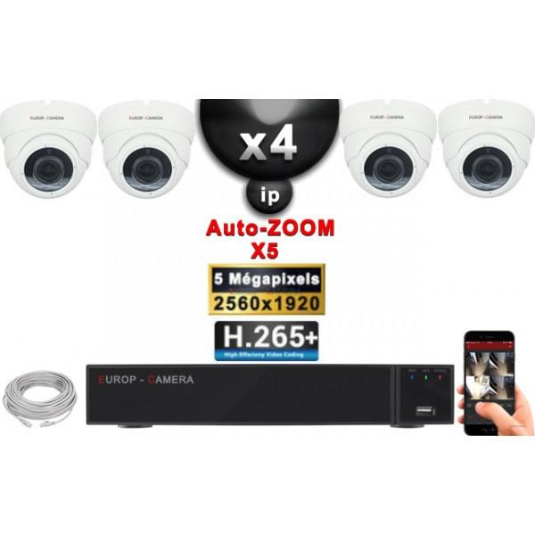 Kit Vidéo Surveillance PRO IP : 4x Caméras POE Dômes AUTOZOOM X5 IR 35M SONY 5 MP + Enregistreur NVR 9 canaux H265+ 2000 Go