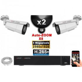Kit Vidéo Surveillance PRO IP : 2x Caméras POE Tubes AUTOZOOM X5 IR 60M SONY 5 MP + Enregistreur NVR 9 canaux H265+ 1000 Go