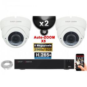 Kit Vidéo Surveillance PRO IP : 2x Caméras POE Dômes AUTOZOOM X5 IR 35M SONY 5 MP + Enregistreur NVR 9 canaux H265+ 1000 Go
