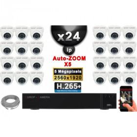 Kit Vidéo Surveillance PRO IP : 24x Caméras POE Dômes AUTOZOOM X5 IR 35M SONY 5 MP + Enregistreur NVR 36 canaux H265+ 3000 Go