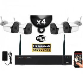 Kit Vidéo Surveillance PRO IP : 4X Caméras Tubes WIFI IR 25M 8 MegaPixels + Enregistreur NVR WIFI H265+ 2000 Go