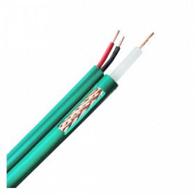 Câble coaxial vidéo KX6 alimentation 2G0.5 vert bobine de 100 mètres