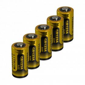 Lot de 5 Pile CR123A Lithium longue durée