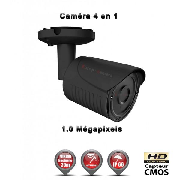 Caméra de vidéo surveillance Tube 4 en 1 Anti-vandal : AHD / CVI / TVI / Analogique HD 720P 1MP CMOS IR 20m / Ref : EC-AHDC4i1 Noir - Caméra Vidéo surveillance