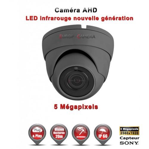 "Mini Dôme AHD Anti-vandal 5 MegaPixels Capteur 1/3"" SONY IR 20m étanche réf: EC-AHDD204MPS - caméra surveillance"