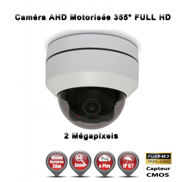 Caméra de vidéo surveillance motorisée MINI DOME PTZ 355° AHD FULL HD 1080P IR 20M ZOOM X3 Extérieur / EC-MINIPTZAHD3X