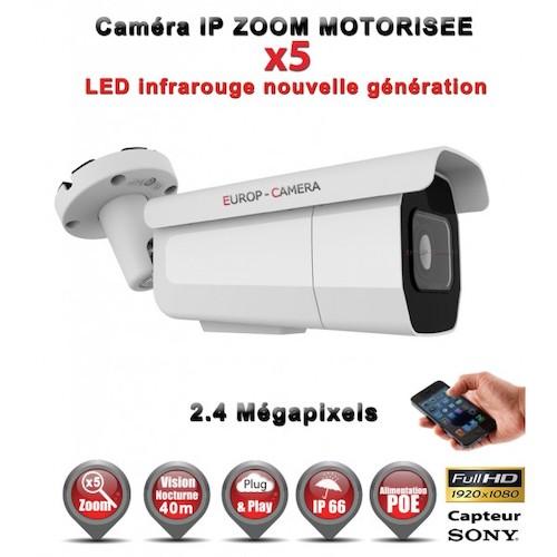 TUBE IP ZOOM Motorisée Zoom X5 ANTI-VANDAL IR 40M ONVIF POE SONY 1080P 2.4 MP / REF : EC-C2MP40AZ - CAMÉRA NUMÉRIQUE IP