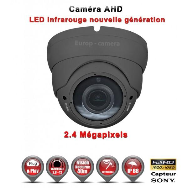 """Dôme AHD Anti-vandal FULL HD 1080P Capteur 1/2.7"""" SONY IMX322 IR 35m varifocale 2.8-12mm étanche réf: EC-AHDC35FHD"""