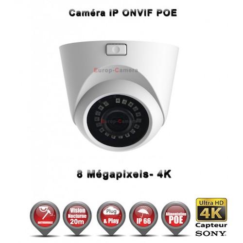 MINI DOME IP ANTI-VANDAL IR 20M ONVIF POE SONY 4K UHD 8 MegaPixels / REF : EC-D4K20 - CAMÉRA DE VIDÉO SURVEILLANCE NUMÉRIQUE IP