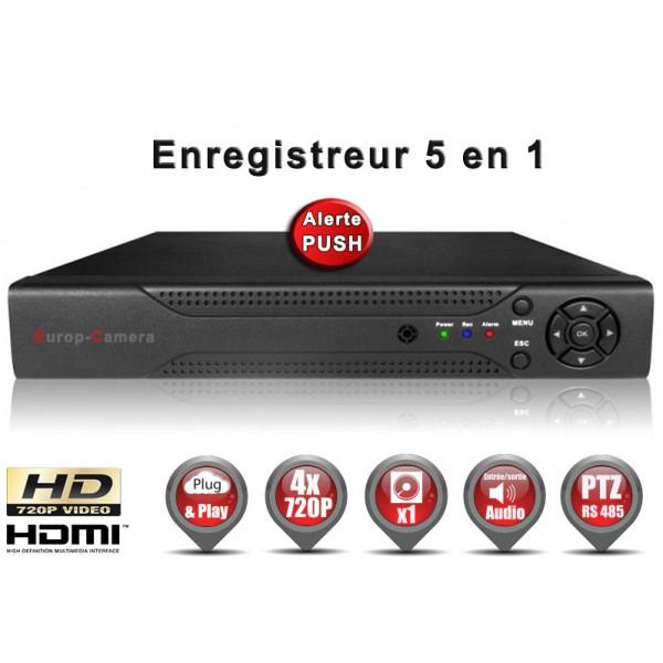 Enregistreur numérique 5 en 1 XVR / AHD / CVI / TVI / IP 4 canaux H264 HD 720P / Ref : EC-DVR960H4 Supporte 1x 6000 Go - Alerte PUSH