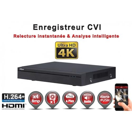 Enregistreur numérique 3 en 1 CVI Analogique IP 4 canaux H264+ 8 MegaPixels UHD 4K / Ref : EC-DVRCVI4K4