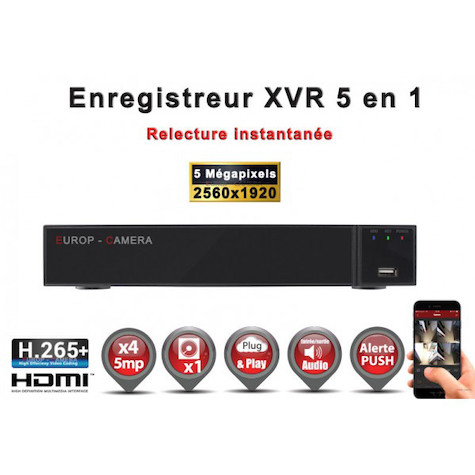 Enregistreur numérique 5 en 1 XVR AHD CVI TVI IP 4 canaux H265+ 5MP 4MP 1080P FULL HD / Ref : EC-XVR4-1080PH265