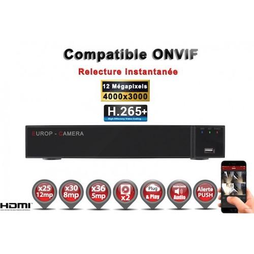 Enregistreur numérique NVR réseau 36 canaux H264+ / H265+ IP ONVIF UHD 4K 5MP 3MP 1080P FULL HD / Ref : EC-NVR36H265C2