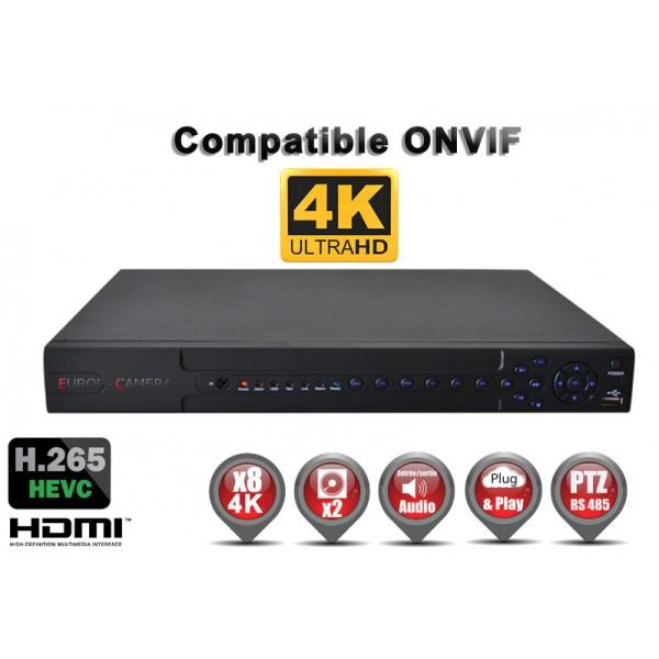 Enregistreur numérique NVR réseau 8 canaux H265 IP ONVIF 1080P FULL HD