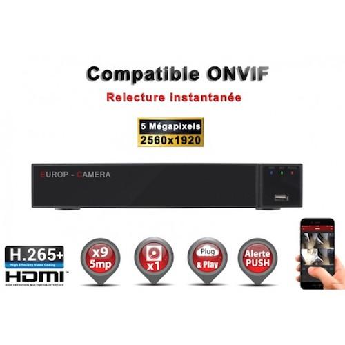 Enregistreur numérique NVR réseau 9 canaux H264+ / H265+ IP ONVIF 5MP 3MP 1080P FULL HD / Ref : EC-NVR9H265C1