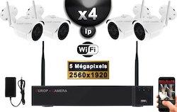 Kit Vidéo Surveillance PRO IP : 4X Caméras Tubes WIFI IR 30M 5 MegaPixels + Enregistreur NVR WIFI H265+ 2000 Go