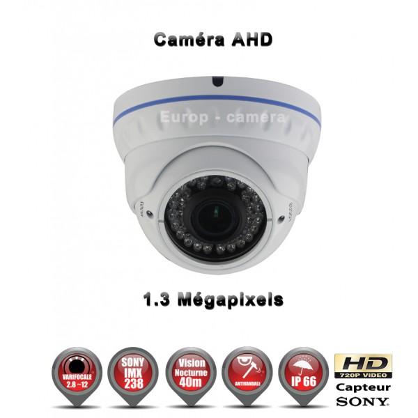 Caméra de vidéo surveillance dômes technologie AHD Anti-vandal HD 720P 1/3 Capteur Sony IMX 238 Objectif réglable Varifocal 2,8-12mm avec Fonction contre jour D-WDR et Menu OSD 3DNR - Etanche IR 35m / Ref : EC-AHDD30 Gris anthracite