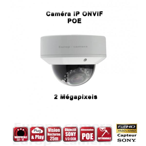 Dômes Anti-Vandal IP ONVIF 1080P CMOS 2 Mega-Pixels IP66