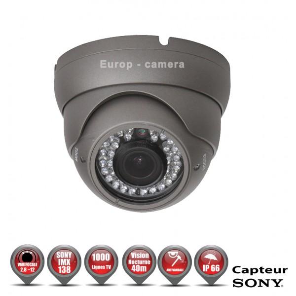 Caméra de vidéo surveillance Dômes Anti-vandal 700 lignes EFFIO-E 1/3 Capteur Sony SUPER HAD CCD 2 Objectif réglable Varifocal 2,8-12mm avec Menu OSD Etanche IR 40m