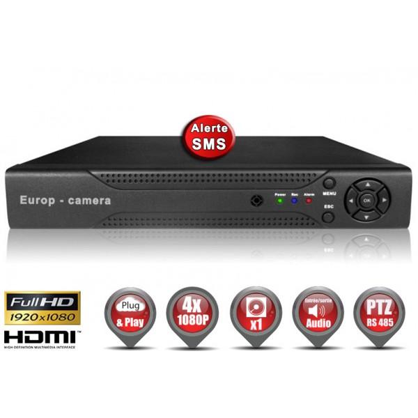Enregistreur numérique AHD H264 4 canaux FULL HD 1080P