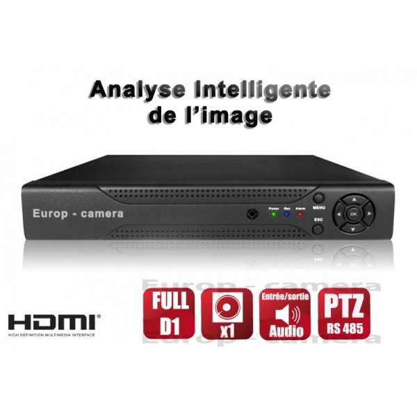 Enregistreur numérique DVR 8 canaux FULL D1 H264 Compatible IPHONE Android Blackberry Nokia Windows mobile / Ref : EC-DVR8FD1 - HDMI - Plug and Play - Analyse intelligente de l'image