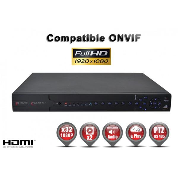 Enregistreur numérique NVR réseau 8 canaux H264 IP ONVIF 1080P FULL HD