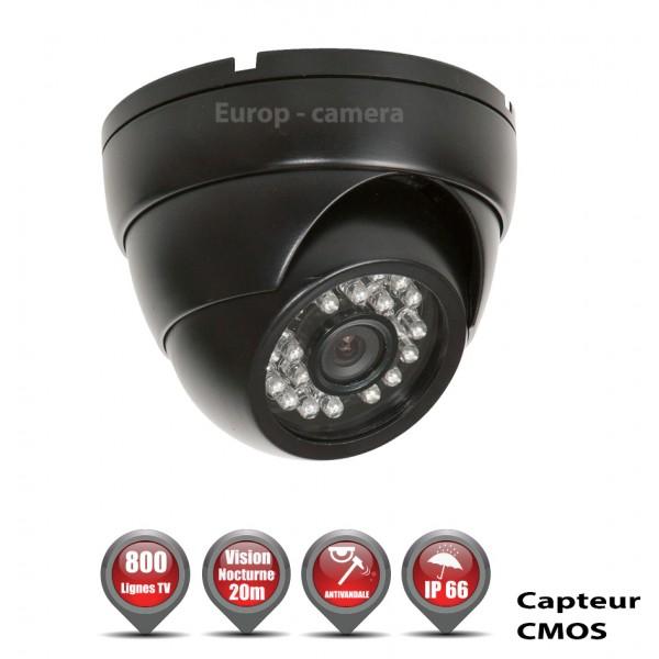 Caméra de vidéo surveillance Mini dôme Anti-Vandal 700 Lignes 1/4 Capteur CMOS ETANCHE IR 20M